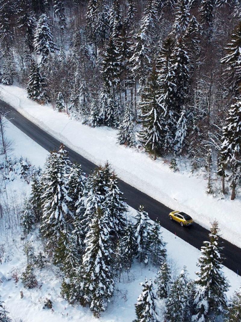 Ein ID.4 fährt durch einen verschneiten Wald