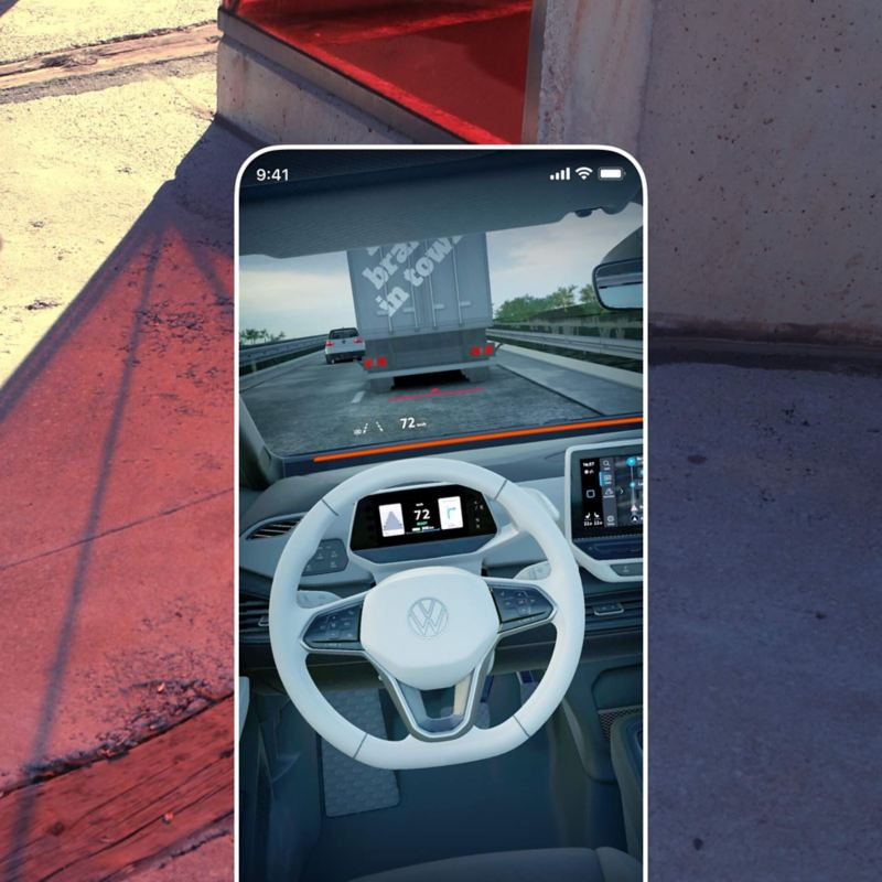 Illustration of the EV Check App in augmented reality mode