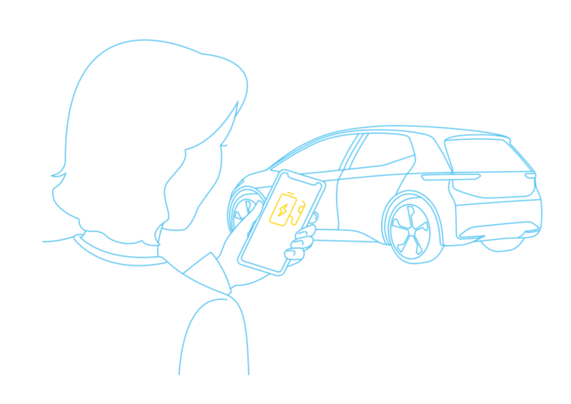 Illustration of a lady using the EV Check app on a smartphone with an ID.3 in the background