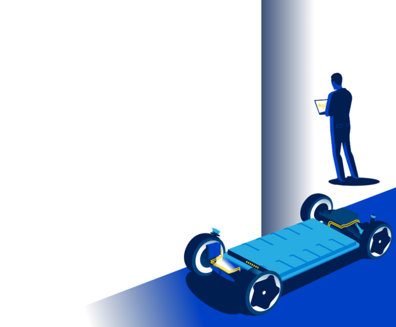 Illustration of the Volkswagen High voltage battery with a man working on a laptop in the background