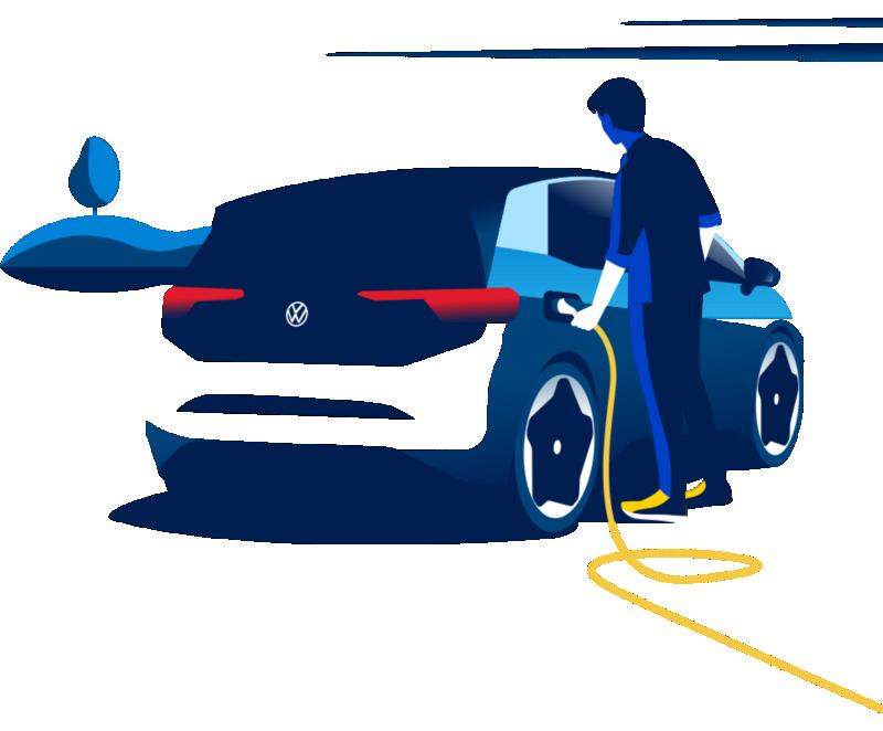 Mulher a carregar o seu automóvel elétrico