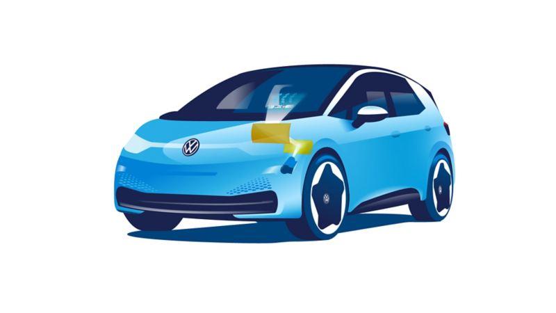 Illustrazione esplicativa della complessa tecnologia dell'head-up display con realtà aumentata, il cui centro nevralgico si trova nella plancia dell'auto. L'immagine riporta come esempio Volkswagen ID.3.