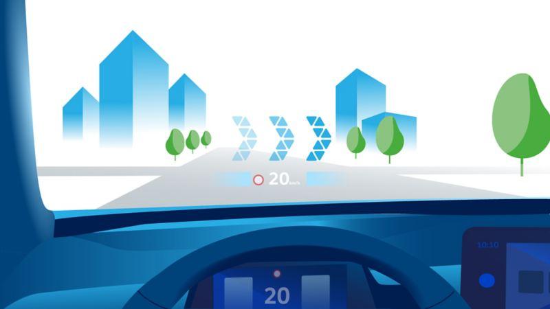 Illustrazione della veduta dal parabrezza di Volkswagen ID.3 quando è in funzione l'head-up display con realtà aumentata.