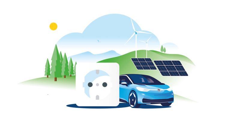 Illustrazione grafica di Volkswagen ID.3 accanto a una presa di corrente. Sullo sfondo alcuni pannelli solari e alcune pale eoliche.