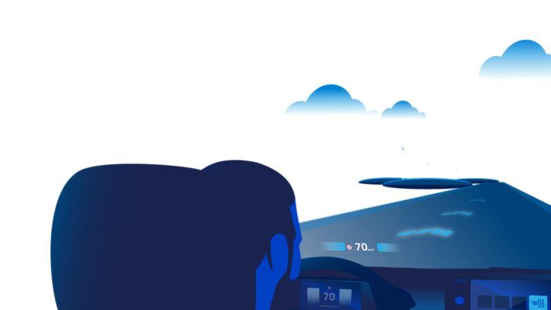 Illustration: On voit un homme au volant de l'ID.3, avec vue sur la route et l'affichage tête haute RA.