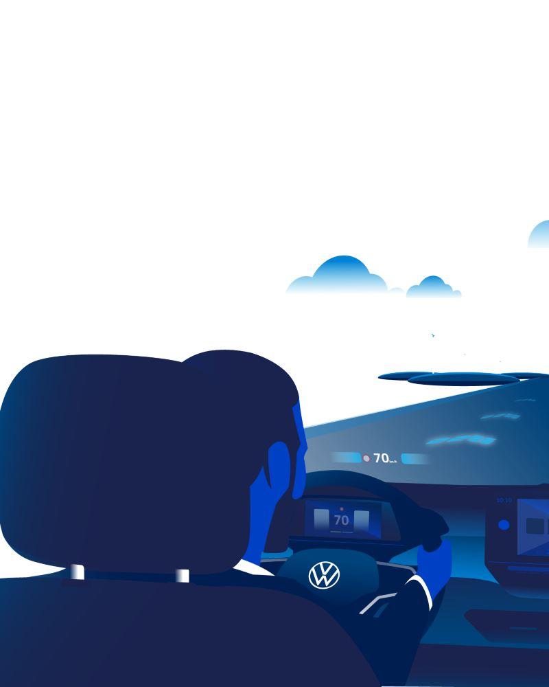 Illustrazione di un uomo al voltante di Volkswagen ID.3 mentre osserva contemporaneamente la strada e l'head-up display con realtà aumentata integrato nel parabrezza.