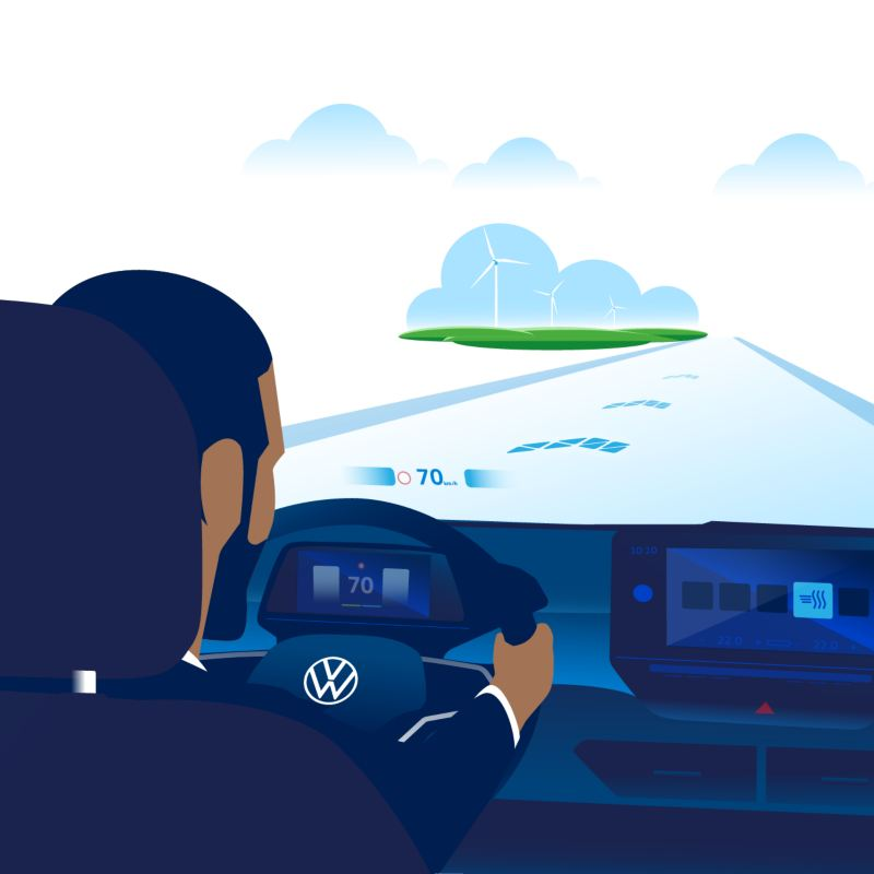 You can see a man driving the ID.3 with a view of the road and the AR HUD.