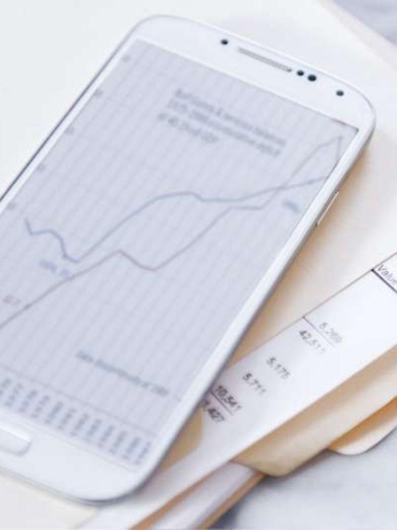 Börsenkurse auf einem Smartphone