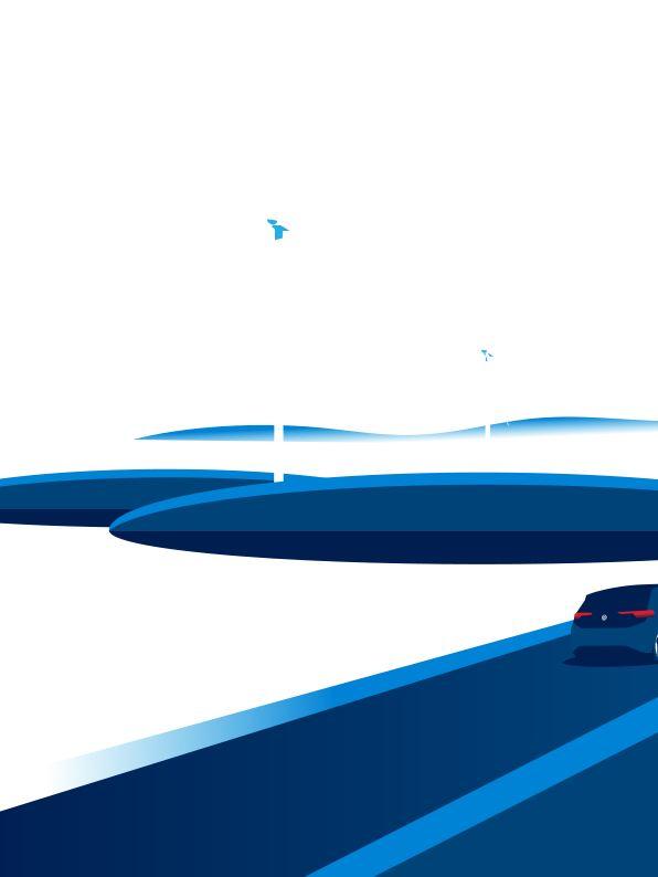 Illustration eines ID.3 mit Windräder im Hintergrund