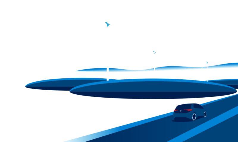 Illustrazione di una Volkswagen ID.3 che percorre una strada; sullo sfondo alcune pale eoliche.