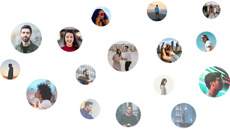 Eine Collage aus mehreren kreisrunden Porträtfotos, auf denen junge Leute zu sehen sind