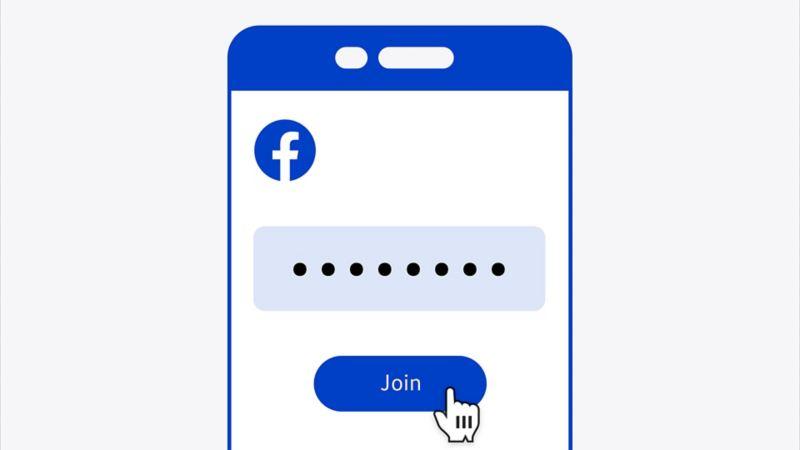 Illustration eines Smartphone-Bildschirms, auf dem ein stilisiertes Facebook-Interface zu sehen ist