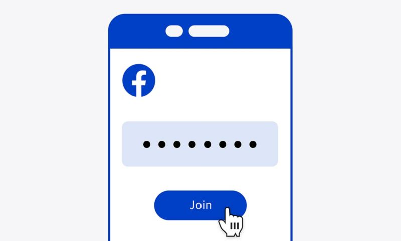 Illustration of smartphone screen showing a stylized Facebook interface