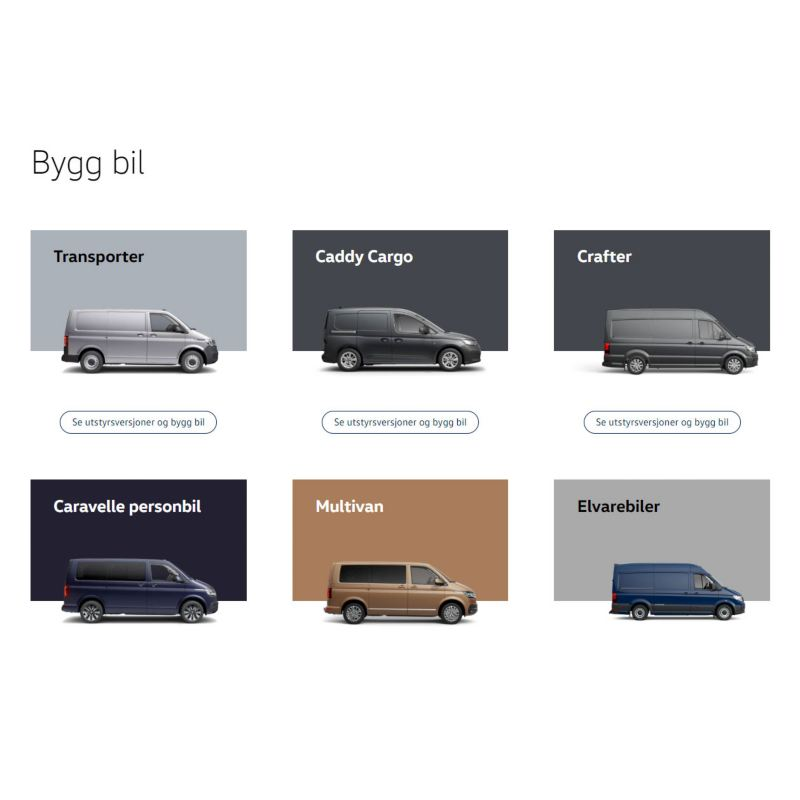 VW Volkswagen Nyttekjøretøy Bygg Bil bilkonfigurator varebil pickup stor personbil el varebil