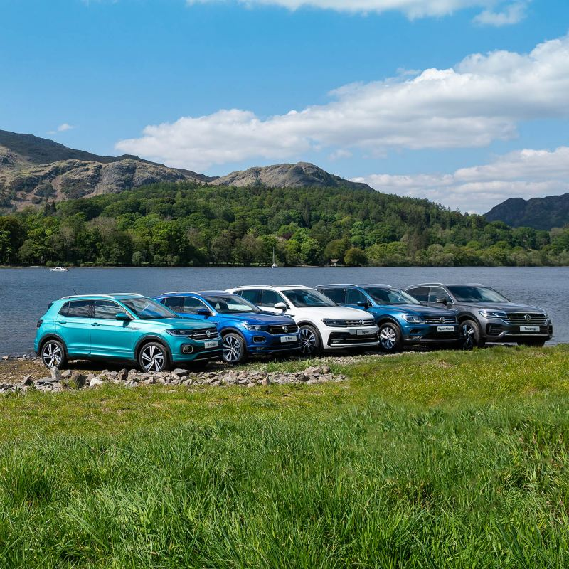 A range of VW cars lined up next to the beach