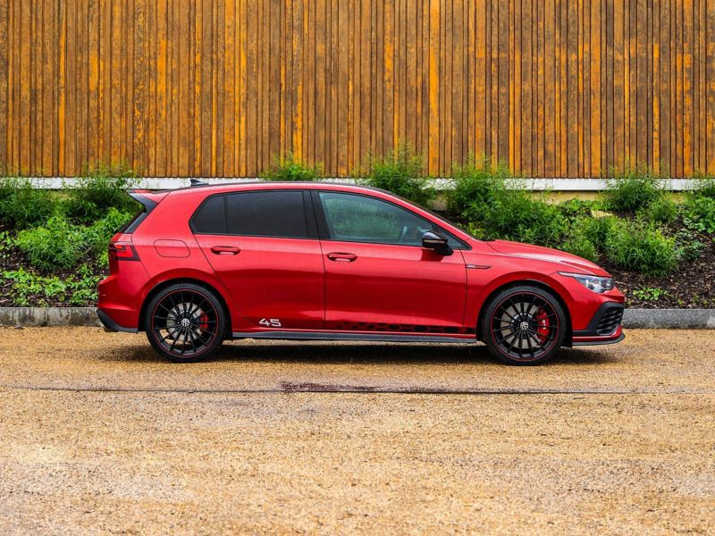 Side profile shot a red VW Golf GTI Clubsport 45
