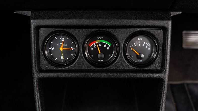 An instrument panel within a Mk 1 VW Golf GTI