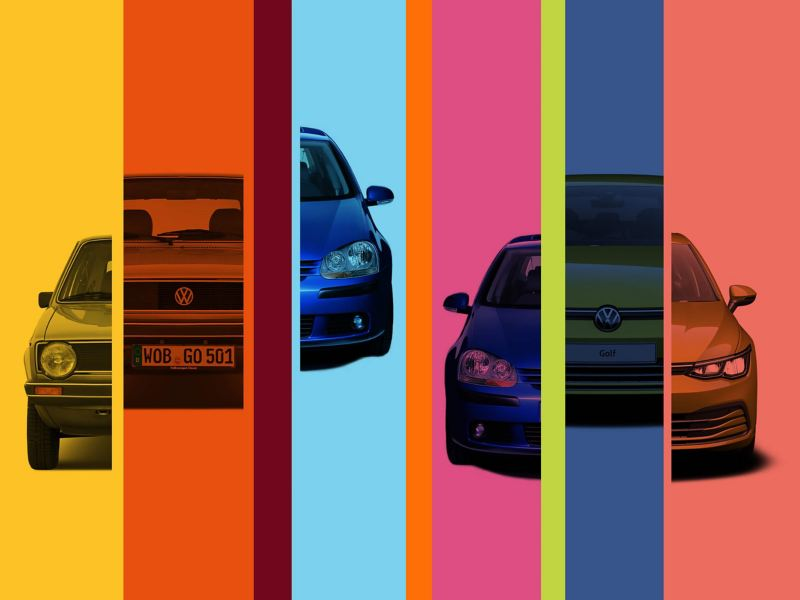 An abstract image showing different sections of VW Golf models through the years