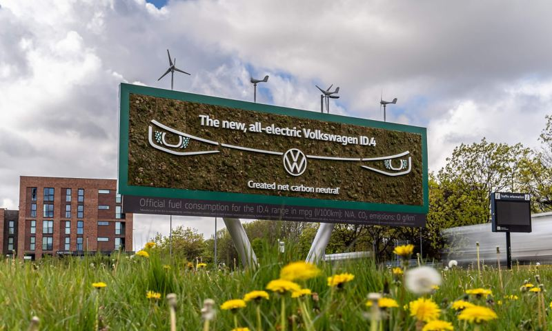 Billboard made up of moss and greenery with VW ID.4 headlight design