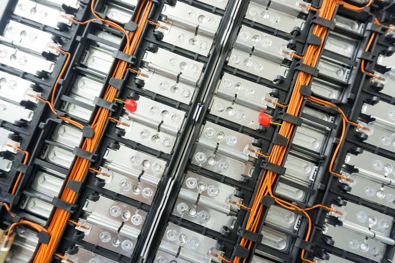 Lithium-Ionen-Zellen einer Elektroauto-Batterie