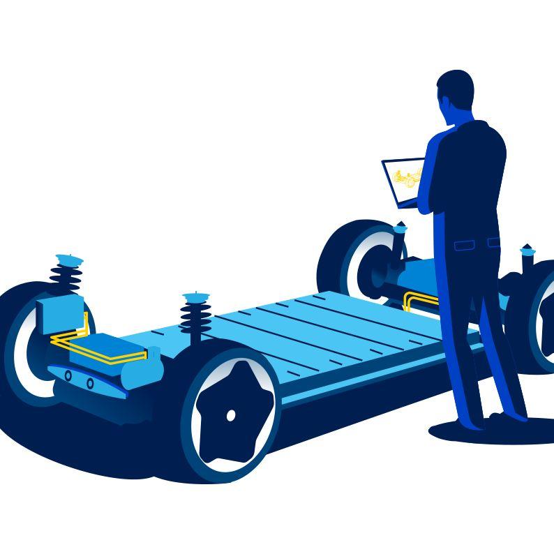 Rappresentazione illustrata della piattaforma MEB Volkswagen