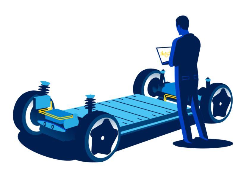 Illustrazione di un uomo davanti al telaio di Volkswagen ID.3 derivante dalla piattaforma MEB