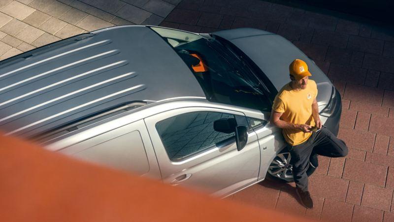 De nieuwe Volkswagen Caddy Cargo van boven gezien.