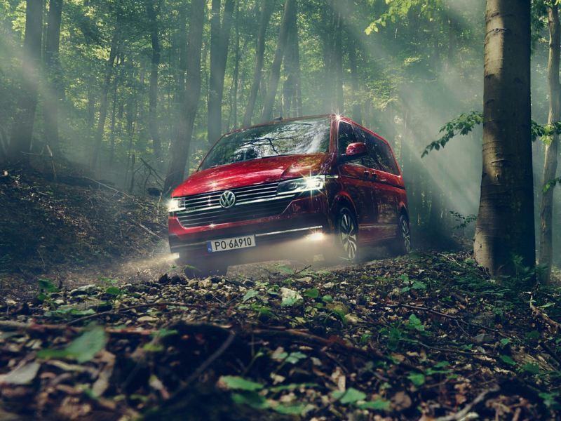 Czerwony Volkswagen Multivan 6.1 przejeżdża przez las.