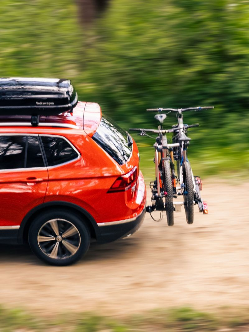 Two bikes on a VW bike rack at the rear of the vehicle