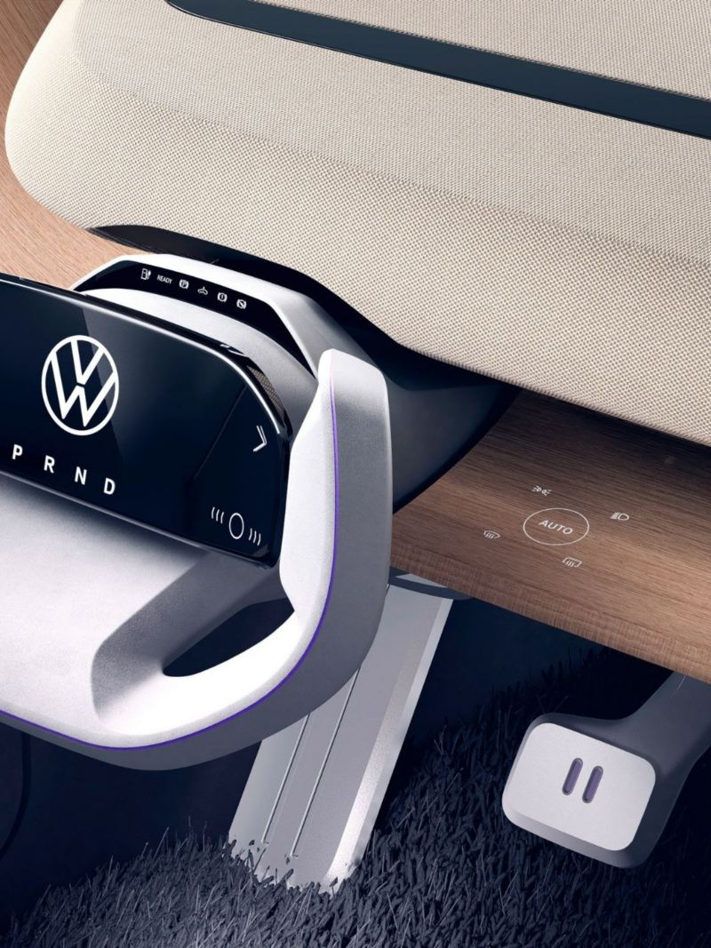 CGI shot of ID. Life steering wheel and interior dashboard with a smartphone resting on it