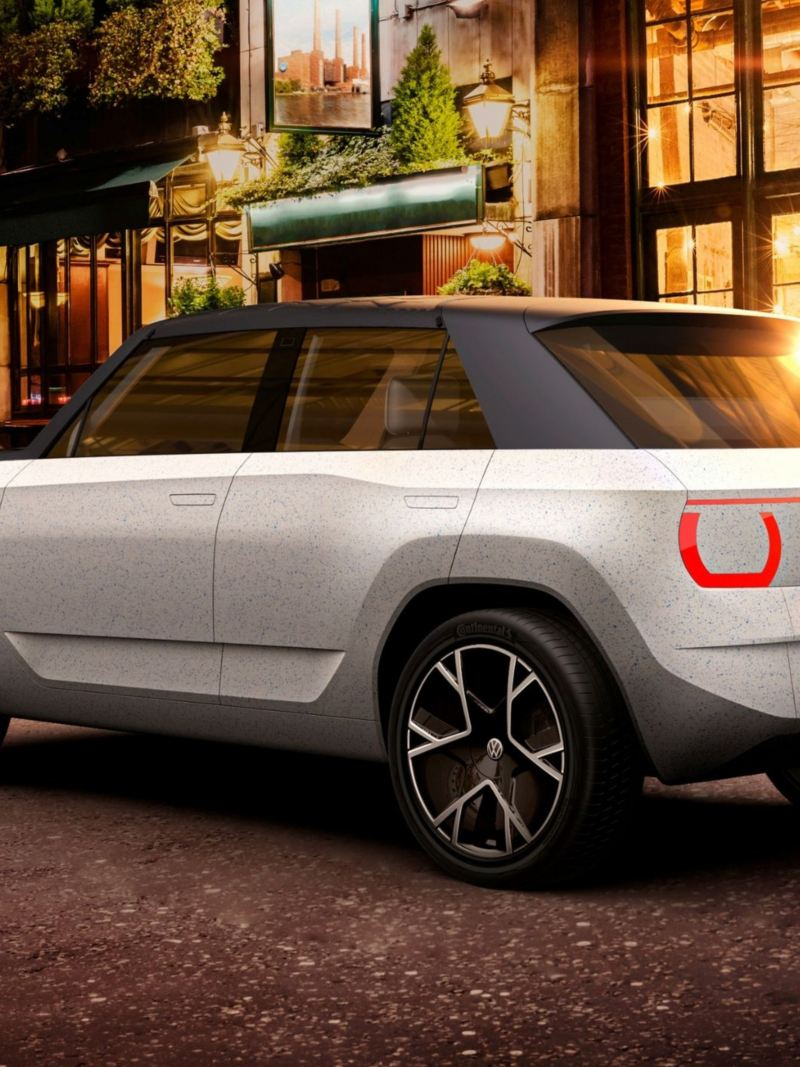 Exterior rear 3/4 shot of a CGI mock up of the VW ID. Life concept car