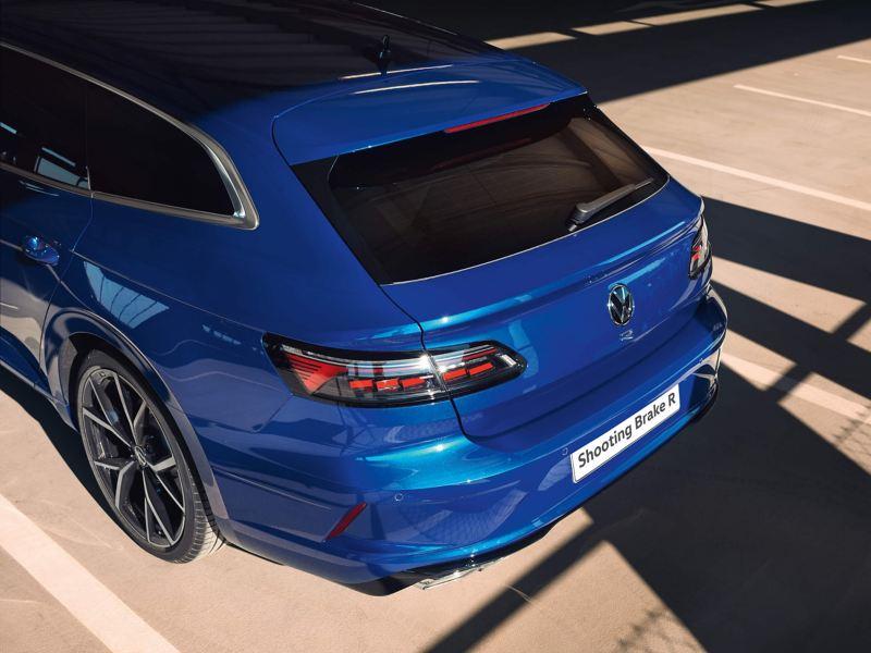Close rear view of a blue VW Arteon R Shooting Brake