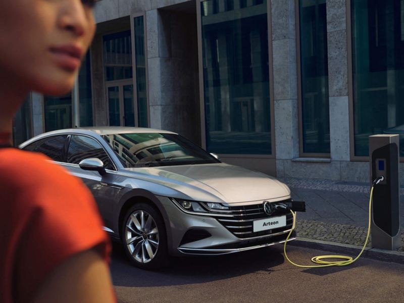 An Arteon parked at a charging station