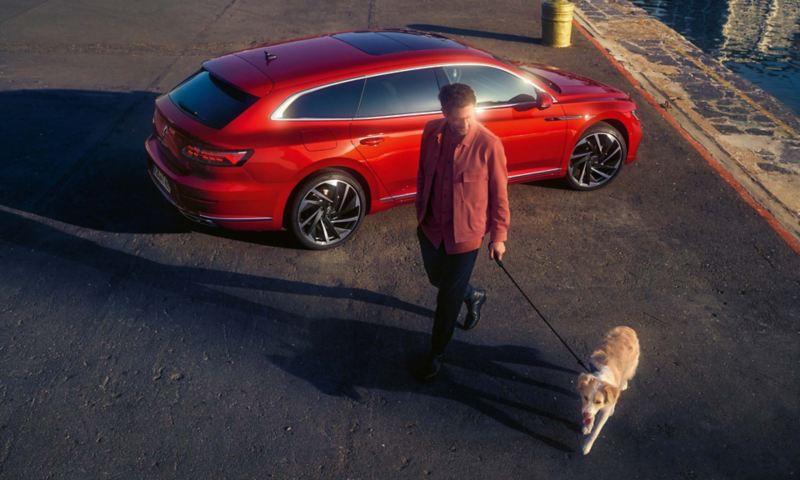 A man walking his dog passed the new Arteon Shooting Brake