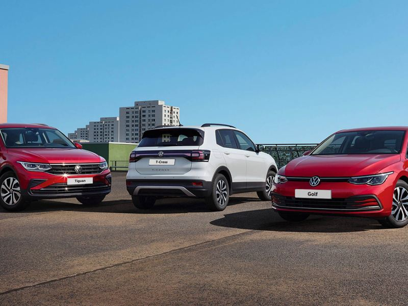 VW ACTIVE Tiguan, T-Cross and Golf parked on rooftop.