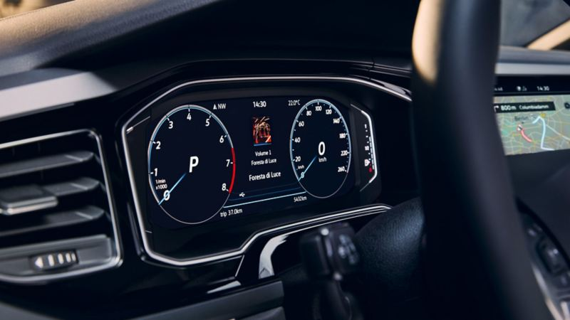 Close-up of the optional Digital Cockpit Pro in the VW Polo, showing the speedometer and navigation system.