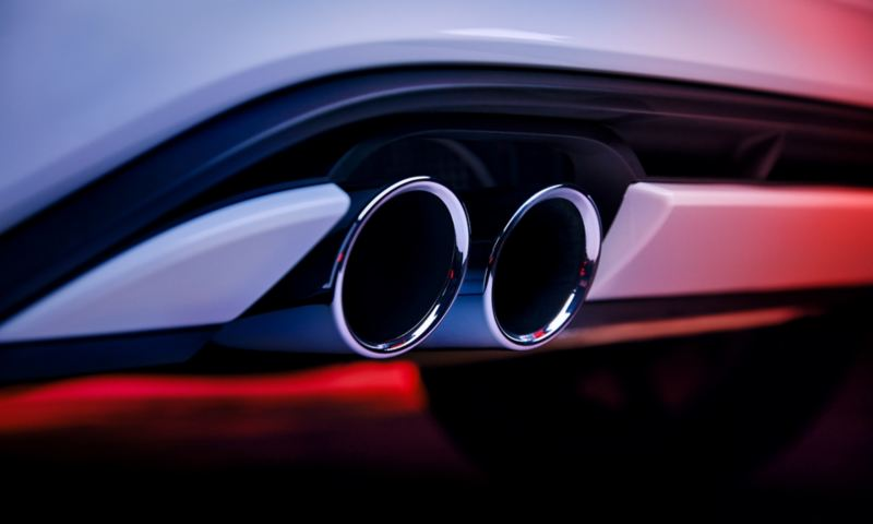 Detail of the chrome-plated exhaust tailpipes at the rear of the Polo GTI.