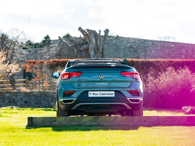 A rear shot of the T-Roc Cabriolet