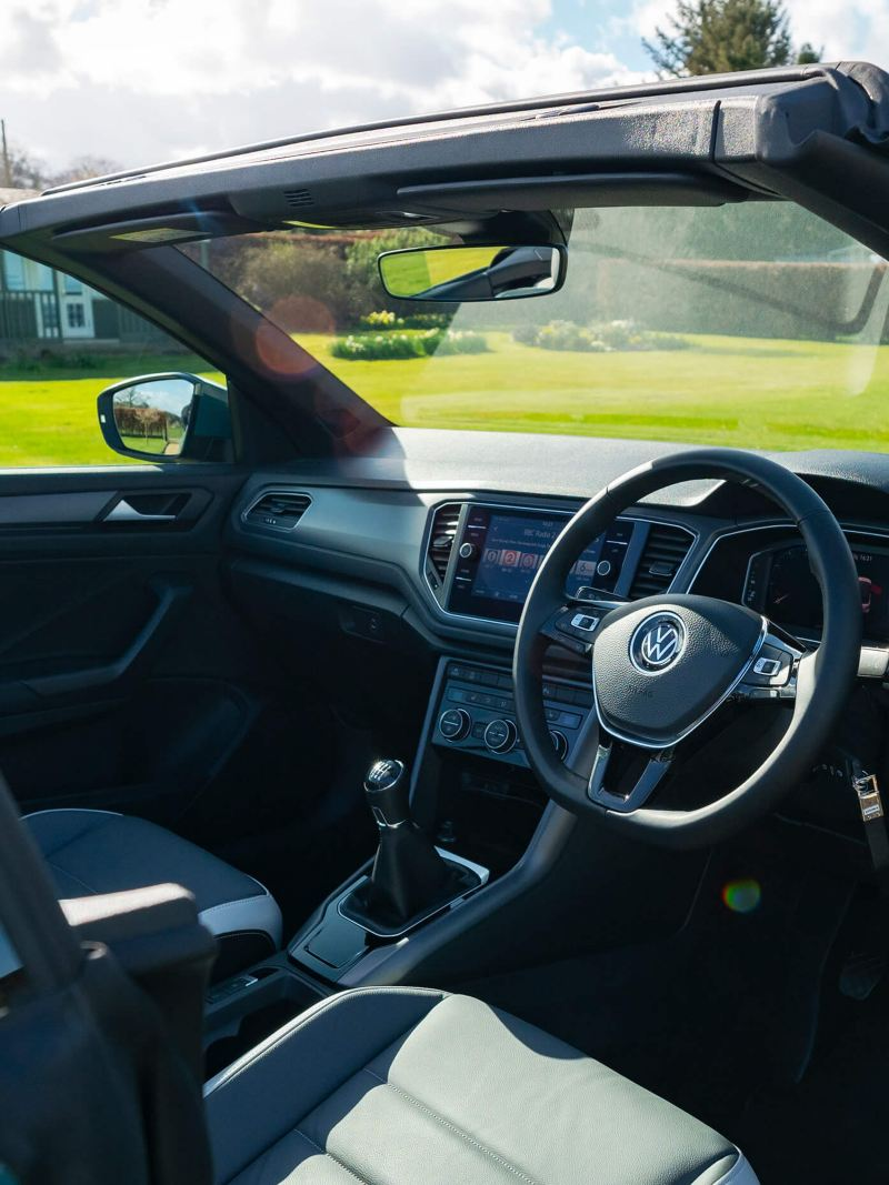 An interior shot of a T-Roc Cabriolet from side view