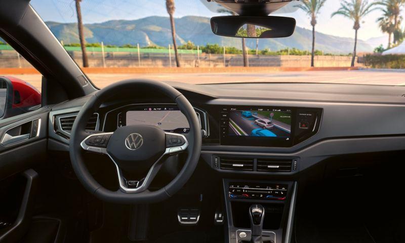 VW Taigo Interior: view of the digital cockpit and multifunction steering wheel