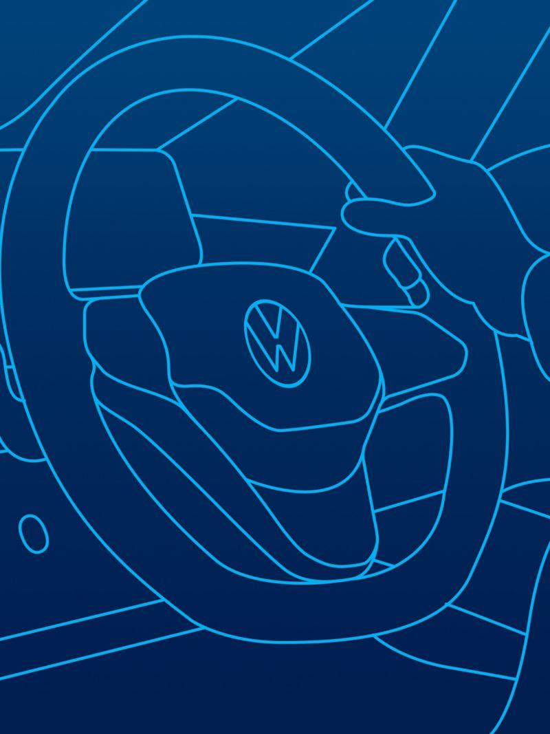An illustration of a steering wheel inside a Volkswagen car