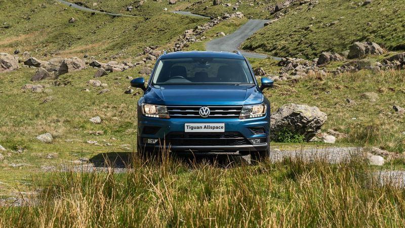 A Volkswagen Tiguan Allspace parked in a field