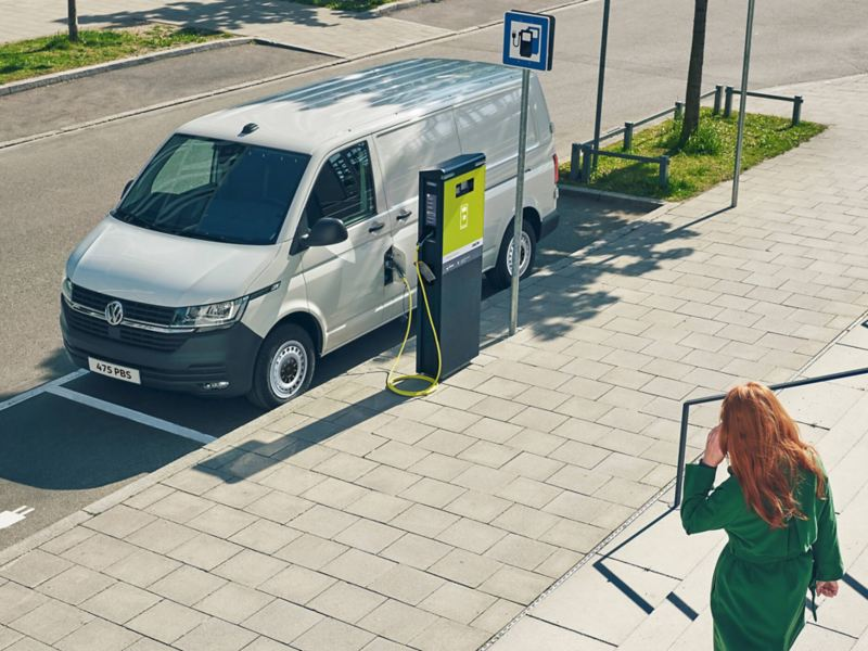 ABT eTransporter charging in a city.