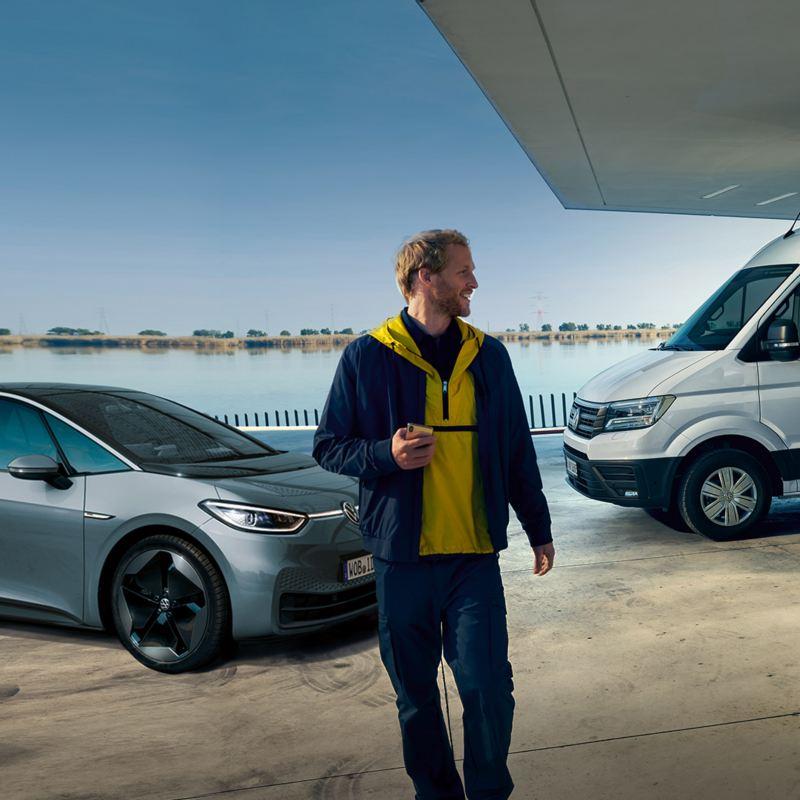 e-crafter blanc en charge volkswagen véhicules utilitaires avec id3 et id4 et golf