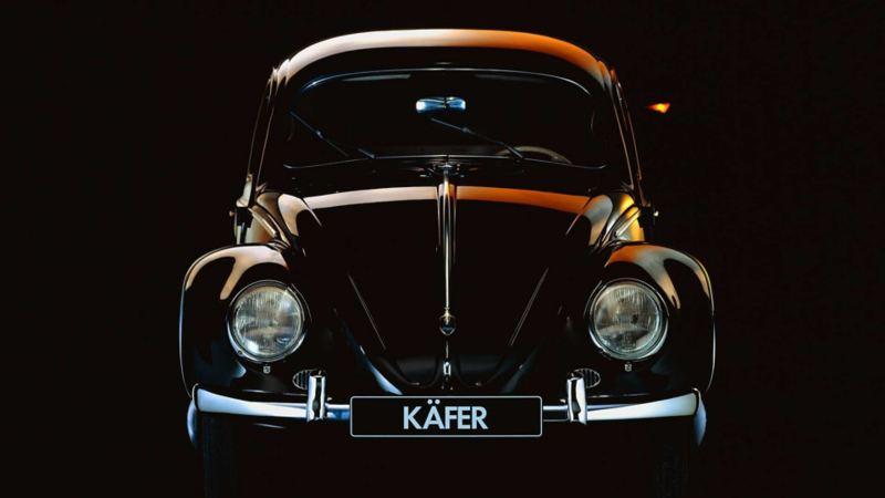 Vista frontale del Maggiolino Volkswagen.