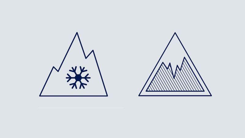 Icone rappresentati una montagna con all'interno un fiocco di neve e una contenente una stalagmite di ghiaccio: nell'etichetta europea per gli pneumatici, esse forniscono informazioni circa l'aderenza dell'auto in condizioni di neve o ghiaccio.