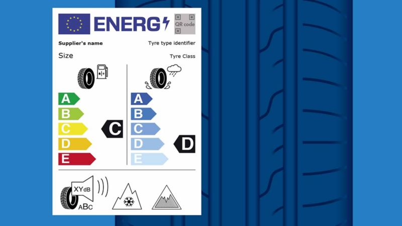 La nuova etichetta europea per gli pneumatici, provvista di simboli e grafici che definiscono i parametri tenuti in considerazione, che rappresentano le classi dello pneumatico stesso. Sullo sfondo l'illustrazione di uno pneumatico.