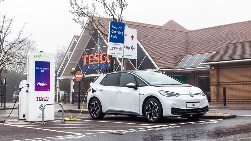An ID.3 being charged in Tesco car park