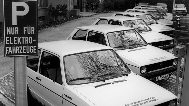 Parked electric Volkswagen cars