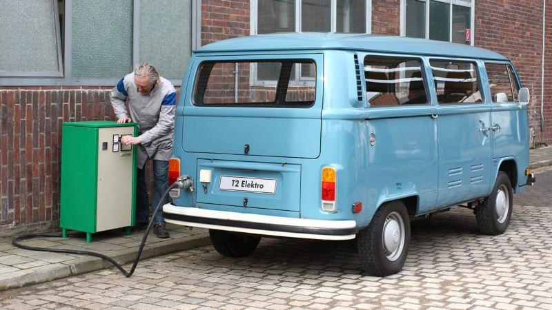 T2 Elektro van being charged